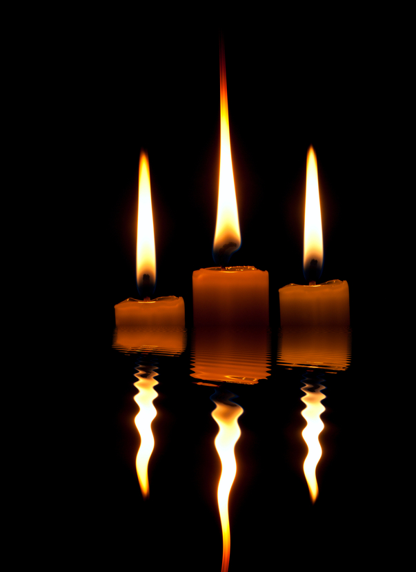 Three Candles reflection
